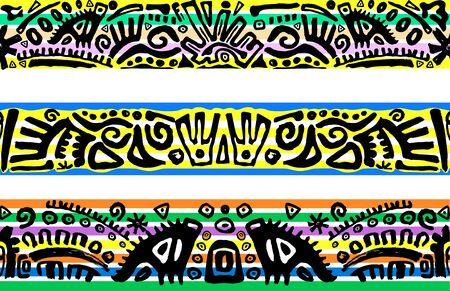 Tribal seamless background, hand drawn art Vector