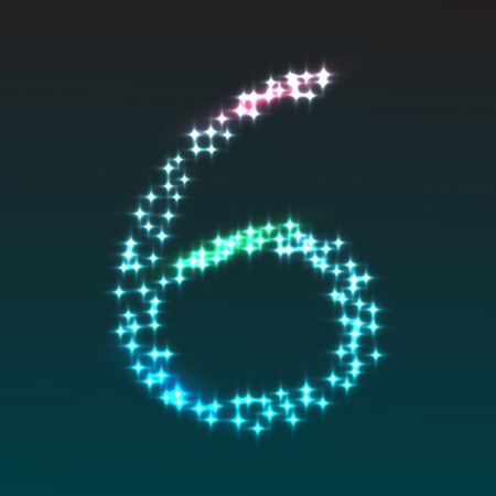 numerical value: Glowing number 6, part of set