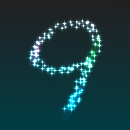 numeric character: Glowing number 9, part of set