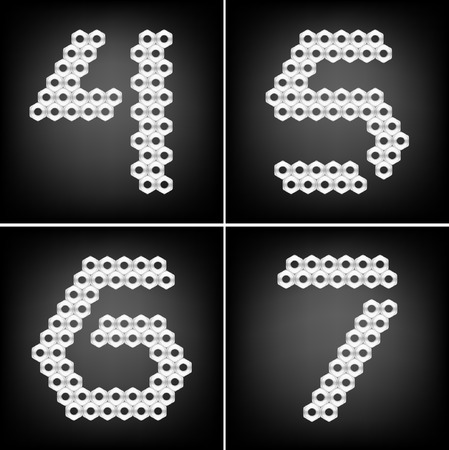 Set of four numbers, made with metall nuts Vector