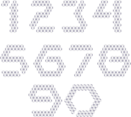 Set of numbers, made with metall nuts Vector