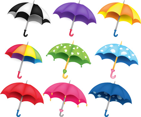 Set of nine different coloured umbrellas