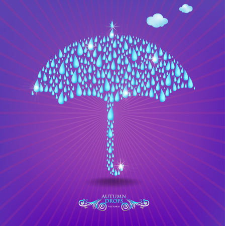torrential: Umbrella`s illustration. made with rainy drops.