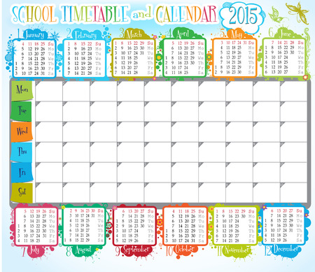 2015 calendar and School timetable for students or pupils Vector