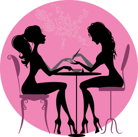 Illustration of silhouette of a girl who makes a manicure at the beauty salon Çizim