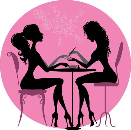 Illustrazione della silhouette di una ragazza che fa una manicure presso il salone di bellezza Archivio Fotografico - 31653695