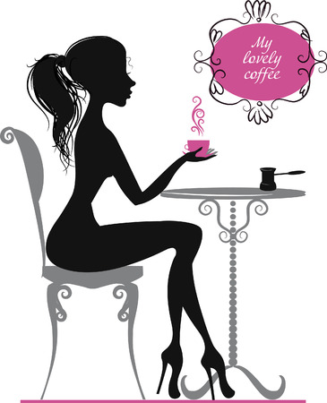 Silhouette of elegant girl with cup of coffee