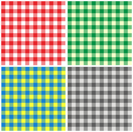 chequered drapery: Set of seamless different color backgrounds tablecloth in Italian style