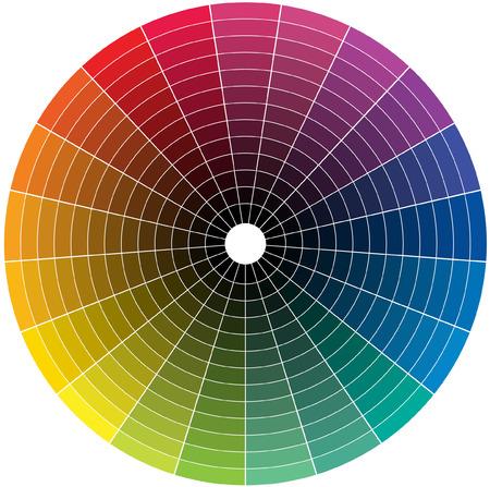 Farbrad mit dem Übergang zu Schwarz in der Mitte