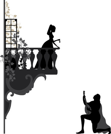 Illustration of troubadour, who singing  love song for young girl on the balcony Иллюстрация