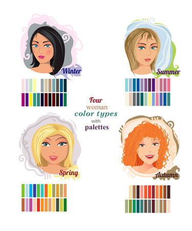 red haired girl: Illustration of four types woman beauty with coloring Illustration