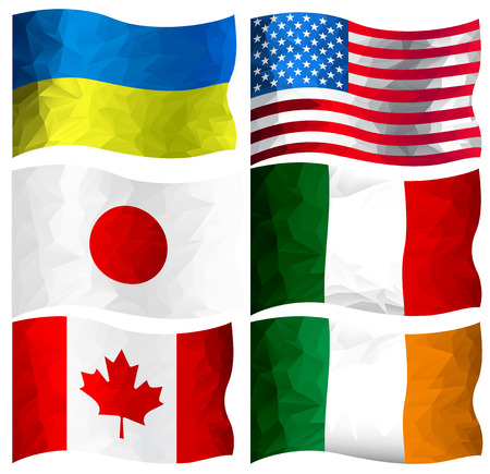 Set of flags of Ukraine, USA, Japan, Canada, Italy and Ireland  in polygonal design (sixth part of collection) Vector