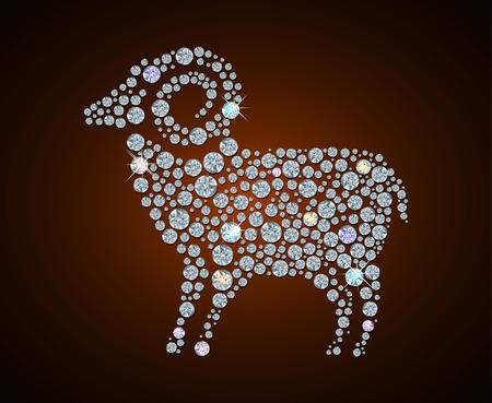 Illustration of Diamond sheep. symbol of 2015 year Vector