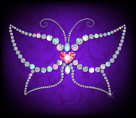 Illustration of  butterfly. made with shiny diamonds Vector