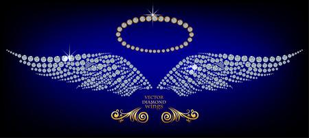 Shiny diamond angel wings and nimbus