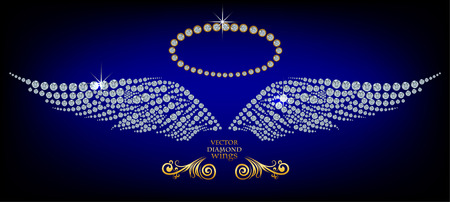 Shiny diamond angel wings Vector