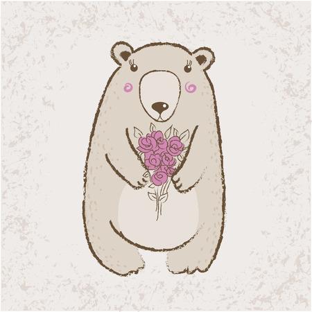 Cute bear with roses Vector