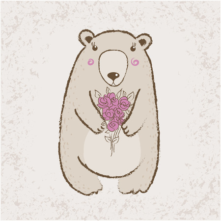 pretty little girl: Cute bear with roses