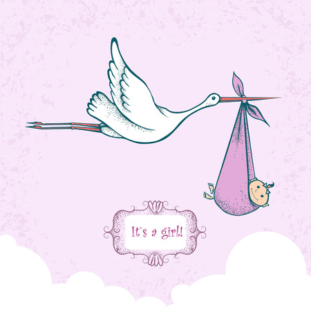babygirl: Stork carrying newborn baby-girl, card for baby shower