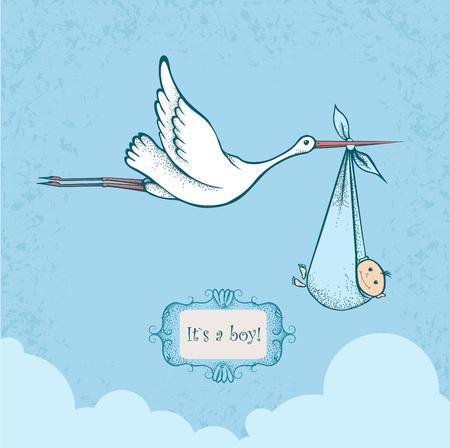 Stork carriyng newborn baby, card for baby shower Illustration