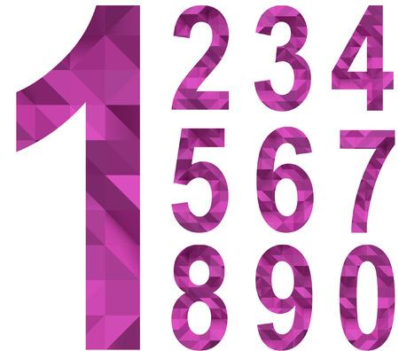 Set of numbers in polygonal design Vector
