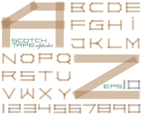 scotch tape: tape alphabet and set of numbers Illustration
