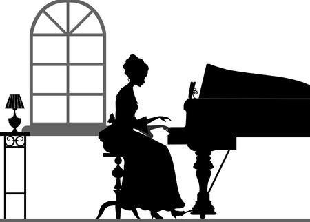 tocando piano: Silueta mujer jugando el piano