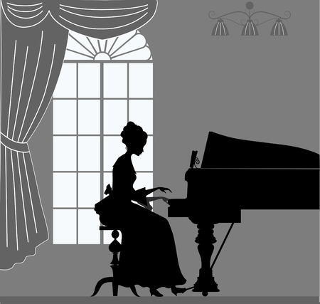 pianist: Silhouette playing piano woman