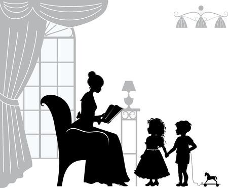 silueta niño: Mamá libro de lectura para los niños