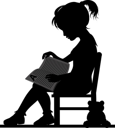 Silhouette of little girl, reading book for her toy