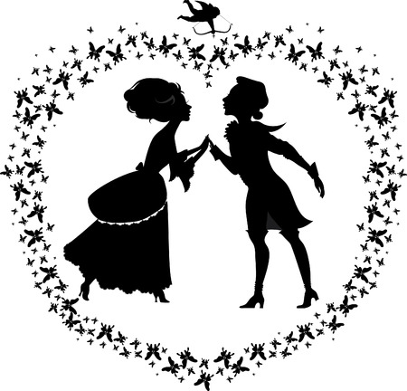 romance love: Silhouette of two lovers in heart shape made with butterflies