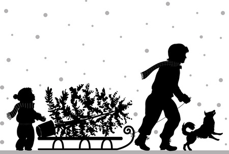 warm clothes: Dad and daughter carry tree, retro silhouette