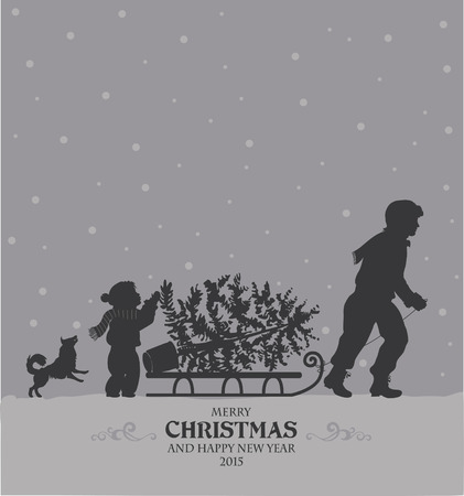 sledge dog: Christmas retro stylized card with Dad and daughter carry tree Illustration