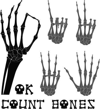 skeleton hand: Set of count signs made with skeleton