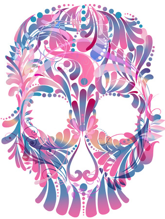 all saint day: Skull with floral pattern