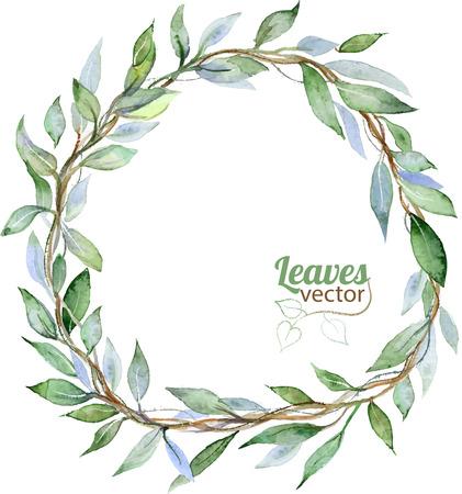 Ronde achtergrond met groene bladeren, aquarel illustratie in vector Stock Illustratie