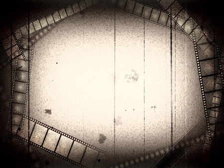 movies: Old movie black and white empty frame with films