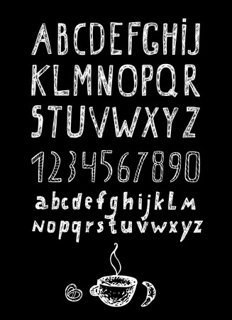 Chalk drawn alphabet and numbers, hand drawn collection 向量圖像
