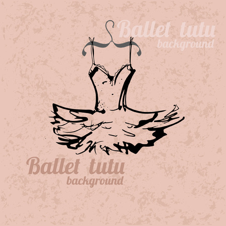 ballet slippers: Background with hand drawn tutu