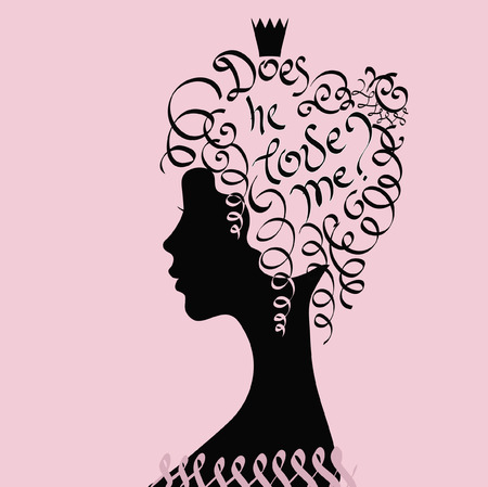 grown with love: Calligraphy decorated silhouette of young girl-princess in love