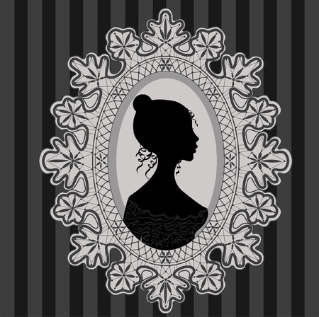 oval frame: Illustration of woman vignette in lace oval frame
