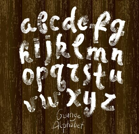 Grunge alphabet on old wood background. Vector hand drawn illustration. Vector