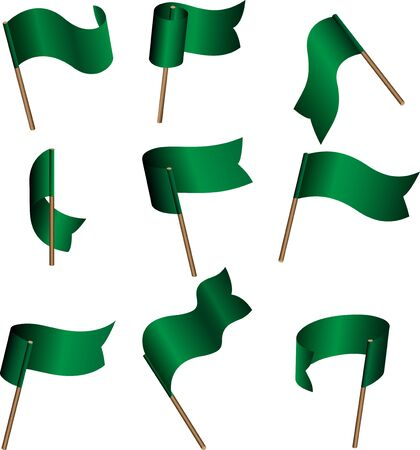 mayday: Set of nine green empty flags on wind Illustration