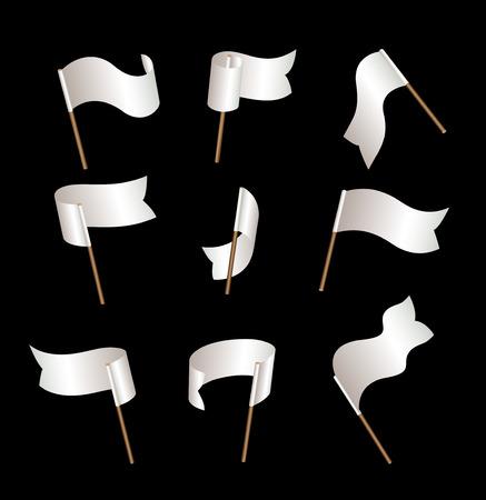 mayday: Set of nine white empty flags on wind