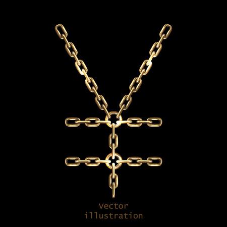 yen sign: Yen firma hecha con cadenas de oro brillante, Vectores