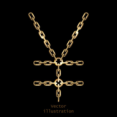 Yen sign made with  golden shiny chains Imagens - 36930889