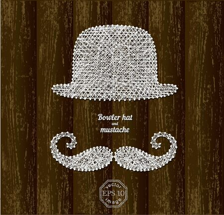 wooden hat: Bowler hat and mustache silhouette made with white thin ropes and pins on wooden background Illustration