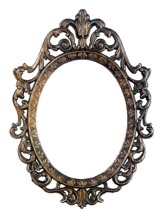mirror frame: Bronze oval vintage frame isolated Stock Photo