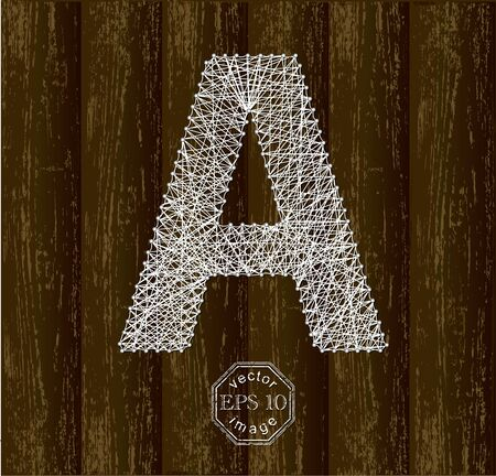 Letter A, made with threads on pins Illustration