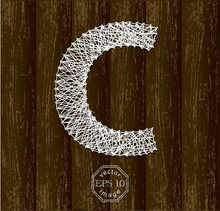 threads: Letter C, made with threads on pins Illustration